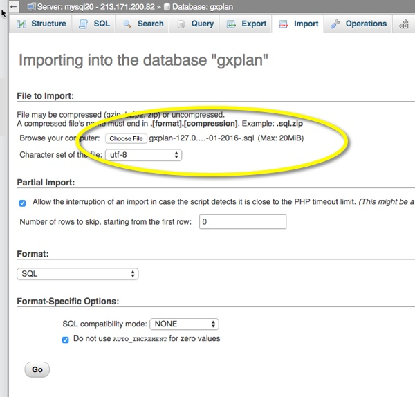 Importing a database backup into your new database